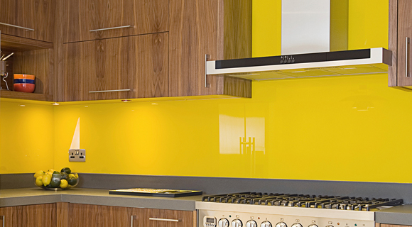 Yellow Back-Painted Glass in Kitchen